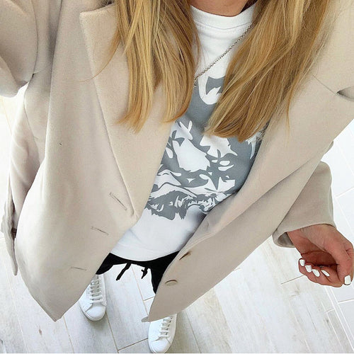 Grey lion on white sweatshirt *NEW*