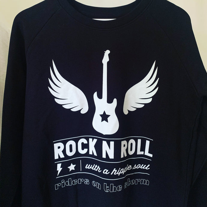 Rock & roll with a hippie soul on black sweatshirt