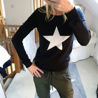 White star on black sweatshirt (small)