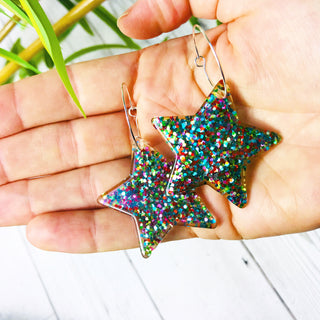 Multicolour glitter large star hoop earrings