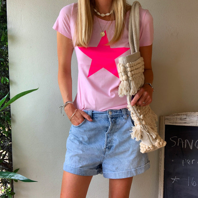 Neon pink star on pink tee *NEW*