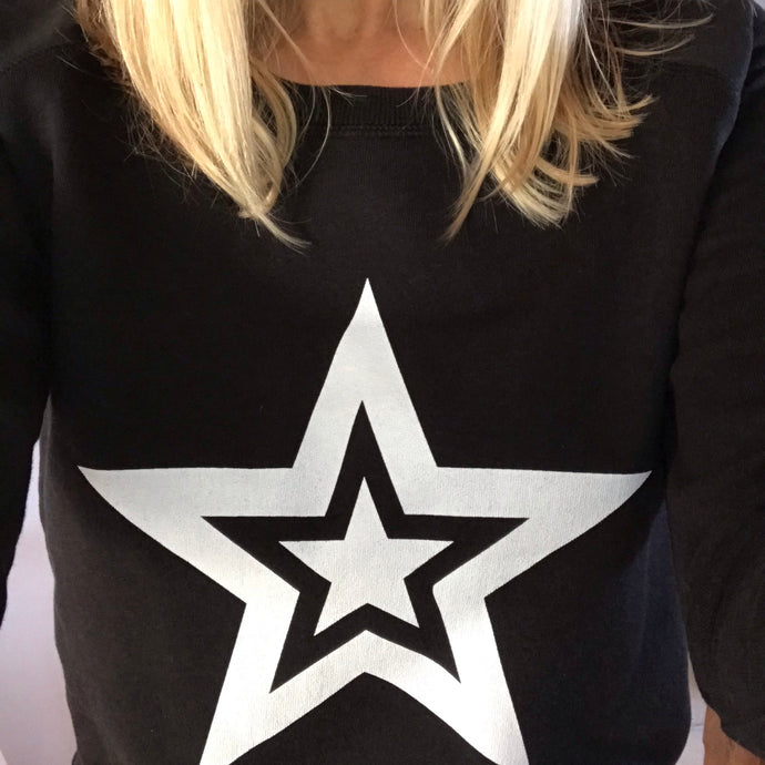 Double white star on black sweatshirt (small UK size 10)