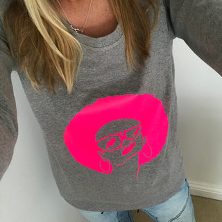 Neon pink face on grey sweat (M)
