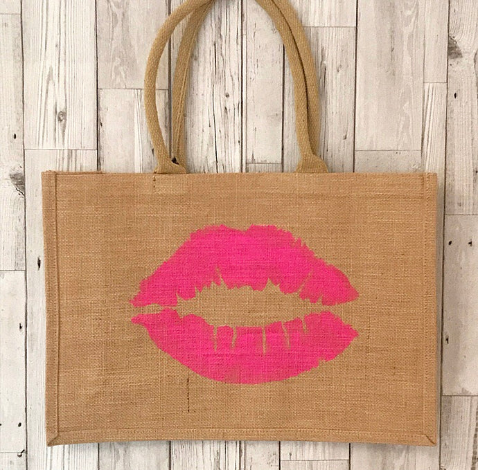 Lips jute shopper, different colours available!