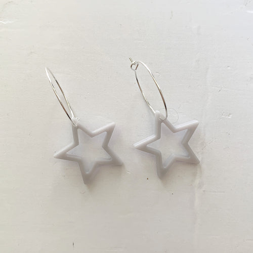 Grey outline star hoop earrings