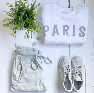 PARIS on white sweatshirt