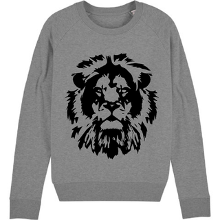 Black lion on mid grey sweatshirt