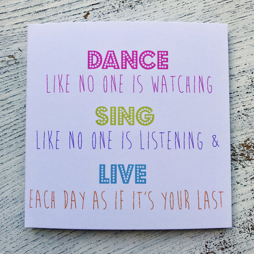 Dance if no one watching neon card