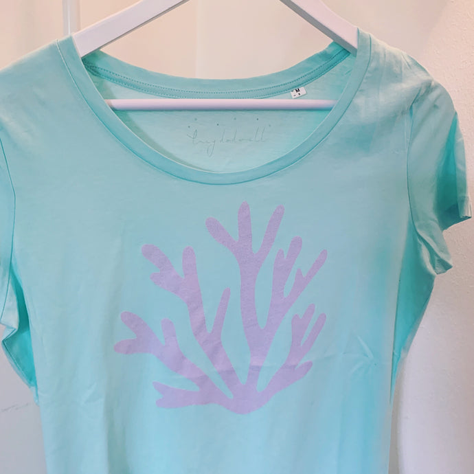 Lilac coral on aqua tee (size m, uk 12)