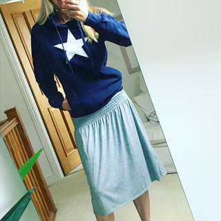 White star on navy hoody (s)