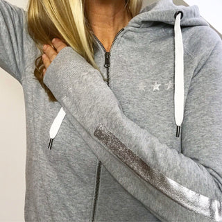 Grey / silver stars & stripes zip hoody *SALE*
