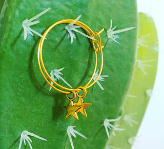 Gold star gold hoop earrings