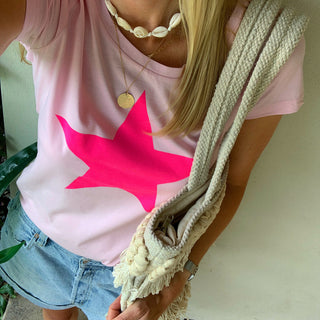 Neon pink star on pink tee *back in stock!*