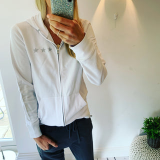 White zip hoody with three grey stars (size 12-14)
