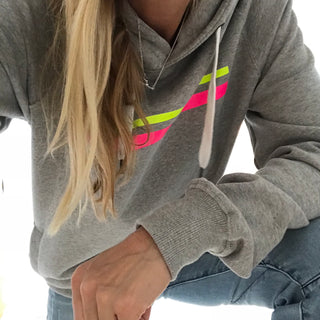 Neon yellow & pink stripes hoody