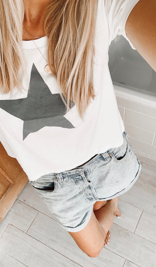 +NEW* Boxy grey star white tee