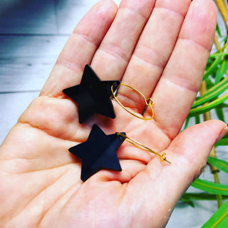 Black star hoop earrings