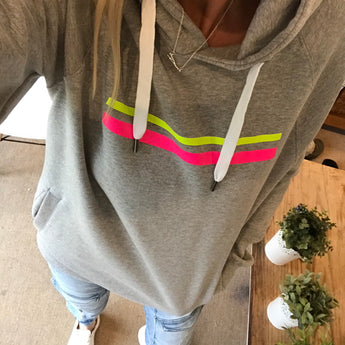 *NEW* Neon yellow & pink stripes hoody