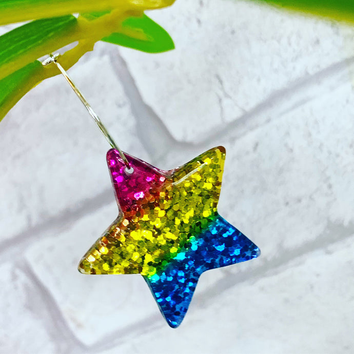 Rainbow glitter star earrings