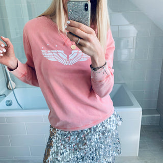 *NEW* Wings & stars vintage washed coral sweatshirt