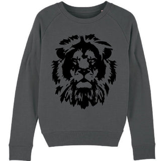 Black lion on charcoal sweatshirt *just XL left*