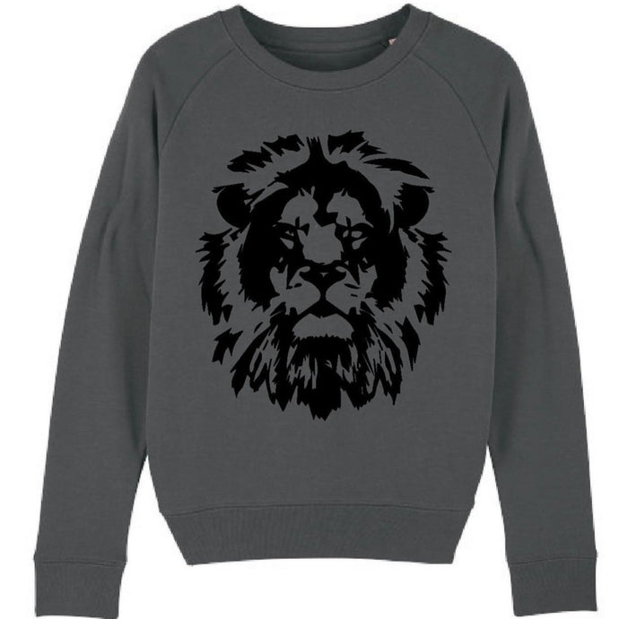 Black lion on charcoal sweatshirt