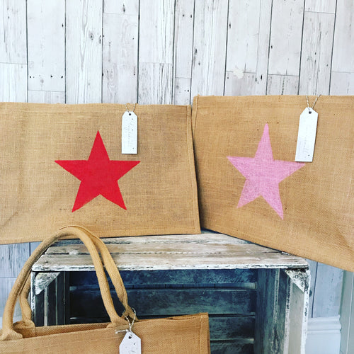 NEW! Red star jute shopper