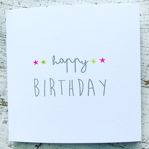 *NEW!* Little neon stars birthday card