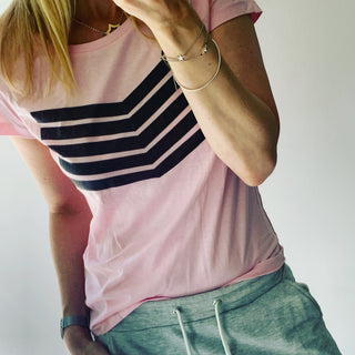 Pink black chevron  tee (m uk 12)