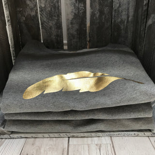 Metallic gold feather sweatshirt (M)
