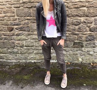 Neon pink star white vest *just 1 medium left*