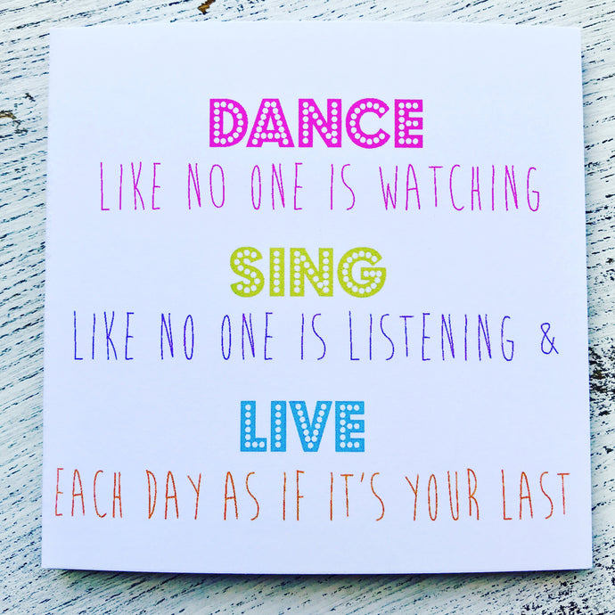 Dance as if no one watching