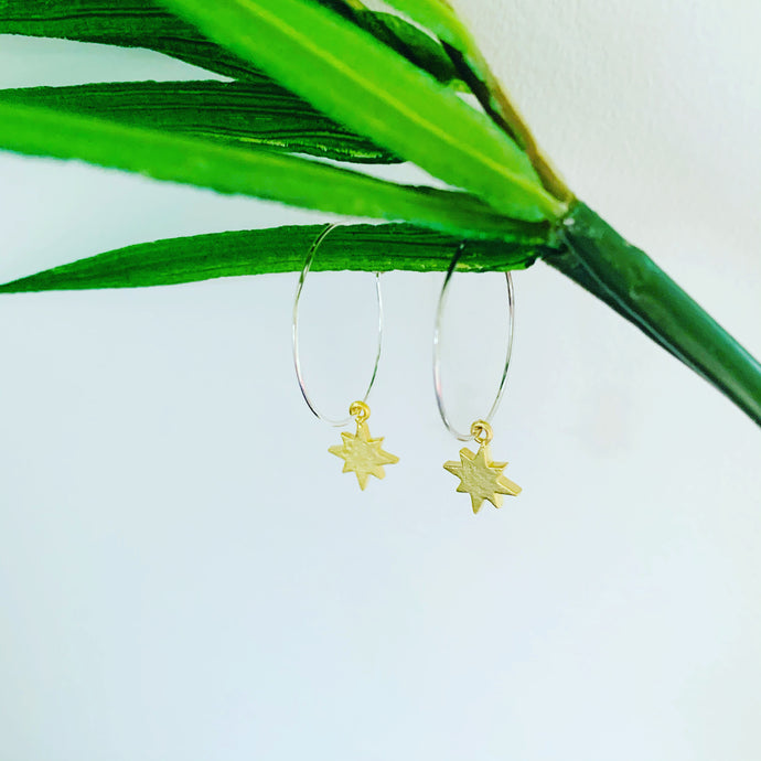 Gold north star silver hoop earrings
