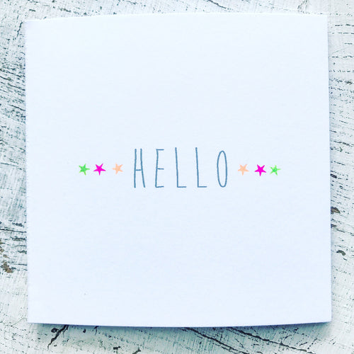 Hello little neon coloured stars card (3 in a row side by side)