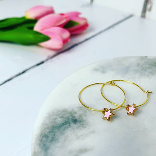 Tiny pink & gold star hoops