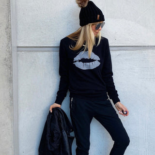 Silver grey glittery lips black sweatshirt