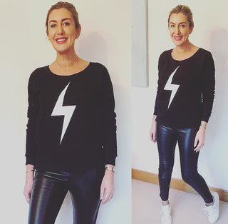 White lightning strike on black sweat (only one left, a large)