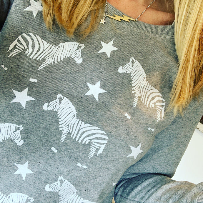 White zebras on grey sweatshirt (small uk 10)