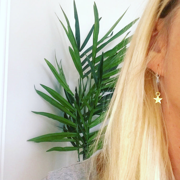 Gold star silver hoop earrings
