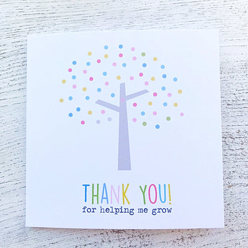 Thank you teacher tree grow card