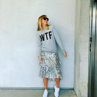 WTF grey sweatshirt *new*