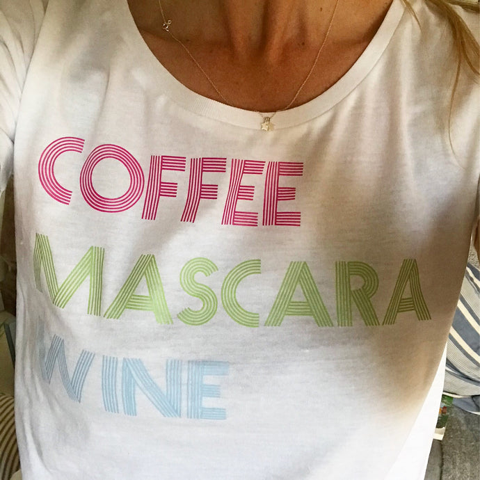 Coffee, mascara, wine neon on white tee