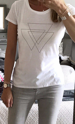 White tee with grey triangles