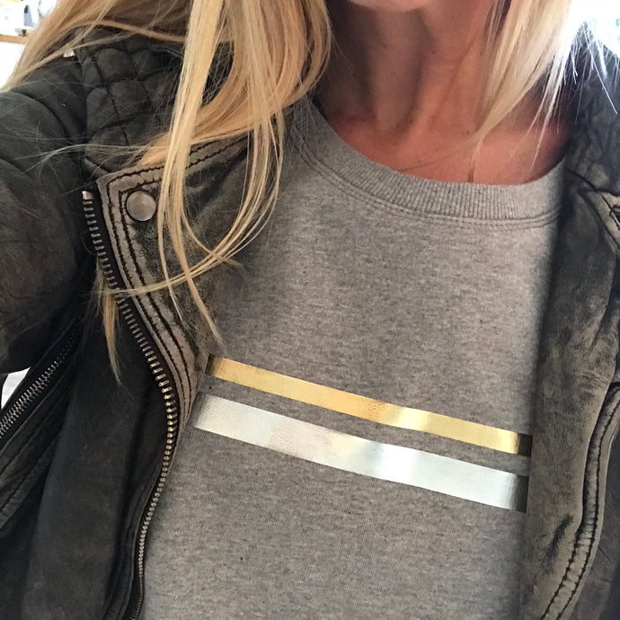 Gold & silver stripes on light grey sweatshirt