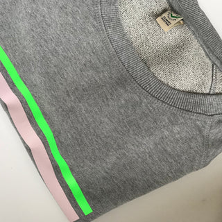 Pink & neon green stripe sweatshirt