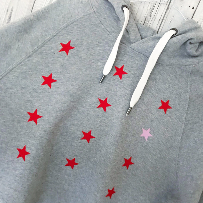 Little red & pink stars hoody (small uk size 10-12)