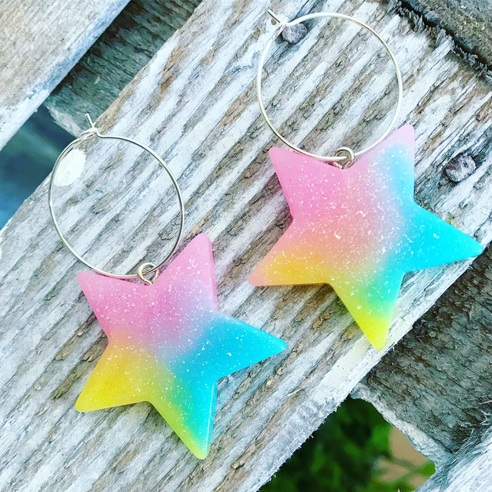 Tropical glitter large star hoop earrings