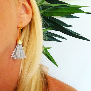 Silver tassel gold hoop earrings