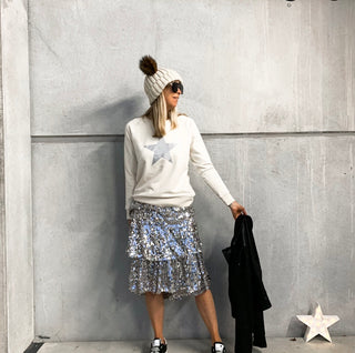 Glittery grey star cream raw sweatshirt *new*