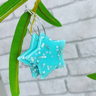 Aqua star glitter earrings